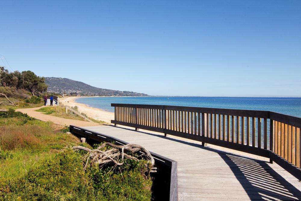 Beautiful boardwalk beach walks