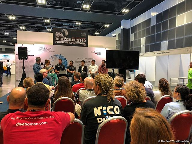 The 2nd Sustainable Diving Dialogue took place once again at the @asiadiveexpo . Chaired by the @unenvironment , the panel from @paditv, @divessi, @oceanpositive_fourthelement, Worldwide Dive and Sail, @sixsenseslaamu  and Scubazoo discussed the rollercoaster of integrating #sustainability into their businesses inspiring the audience to take tangible #actions to keep their #businesses viable in the face of global changes to #reefs in the future. If you want to know more, follow the link in the bio! #marine #conservation #diving #coral #reef