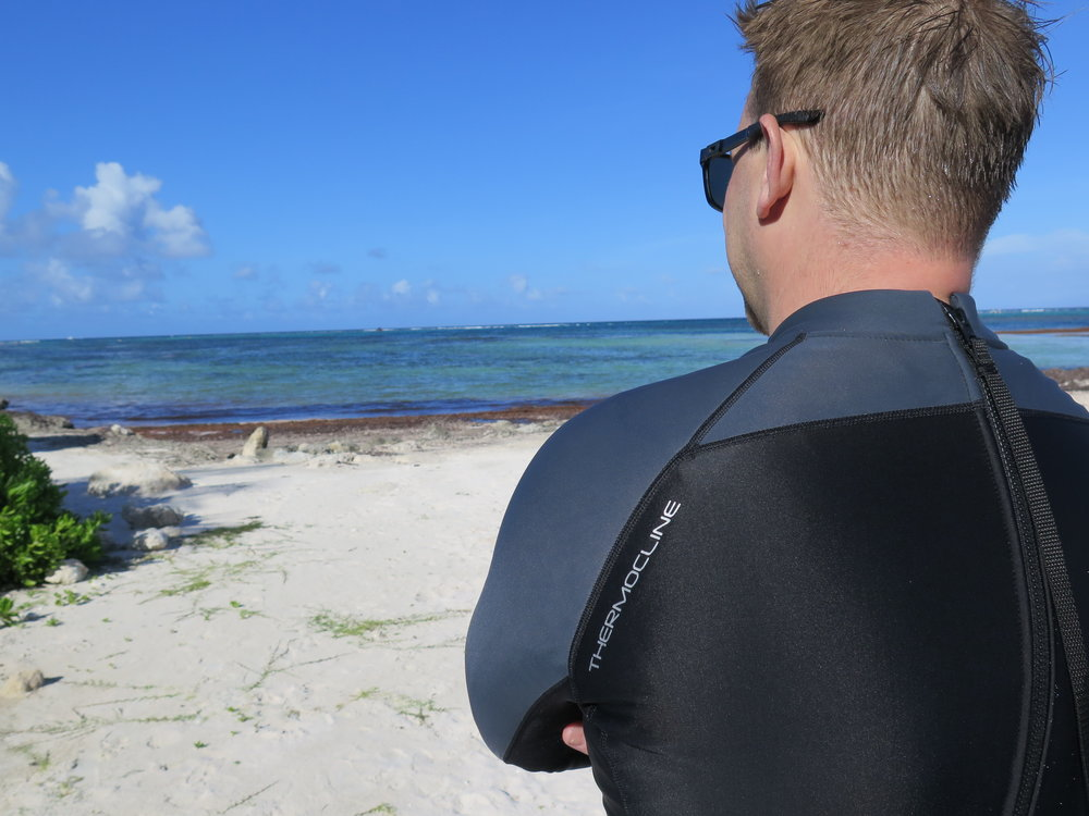 Fourth Element's Thermocline wetsuit. Made from recycled 'Ghost' fishing nets.