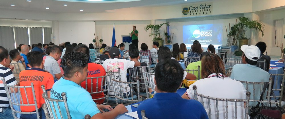 Presenting Green Fins to a full house of tourism stakeholders in Boracay - 10 December 2018