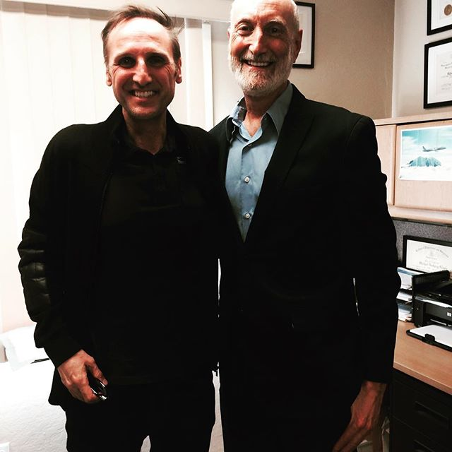 Men in black: Dr. Michael Klaper and the documentary's executive producer Dr. Roland Boeni after recording the interview.
