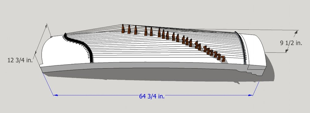 Model and diagram of modern 21-string guzheng created by author.
