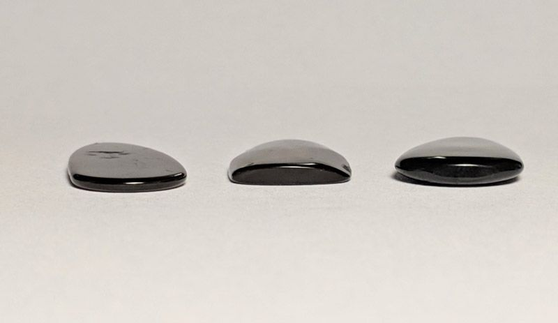 Left to right: Flat, Single Arc, Double Arc