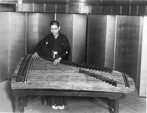 80-string koto made by Mitsuya Koto for Miyagi Michio, circa 1929. Image from  Miyagi Michio Koto Association