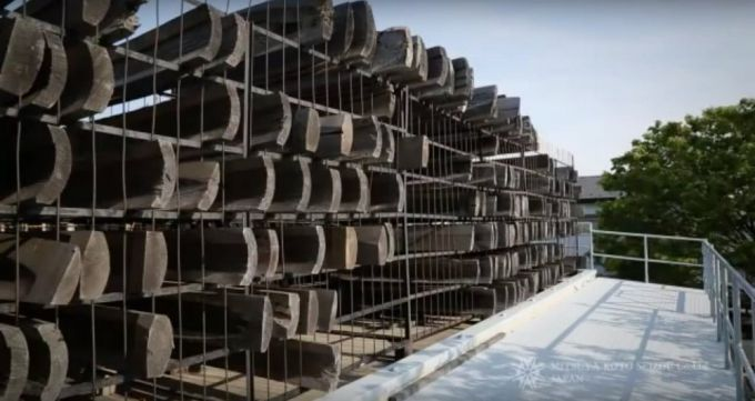 Air-drying Paulownia Logs. Screengrab from  Mitsuya Koto 's promotional  video .