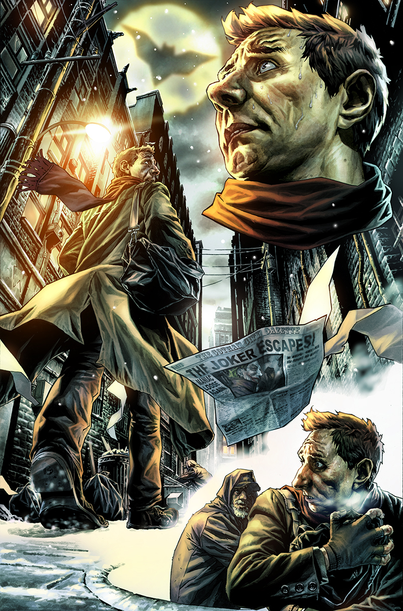 "Page from ""Batman:Noel"" written by Lee Bermejo  Pencils and inkwash: Lee Bermejo  Colors: Barbara Ciardo  DC COMICS"