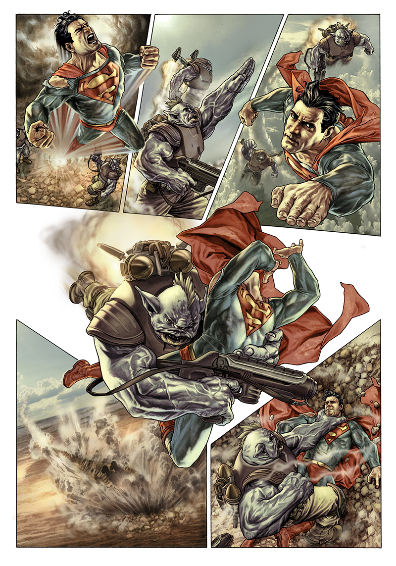 "Page from a SUPERMAN story written by John Arcudi and published on ""Wednesday Comics""  Pencils and inkwash: Lee Bermejo  Colors: Barbara Ciardo  DC COMICS"