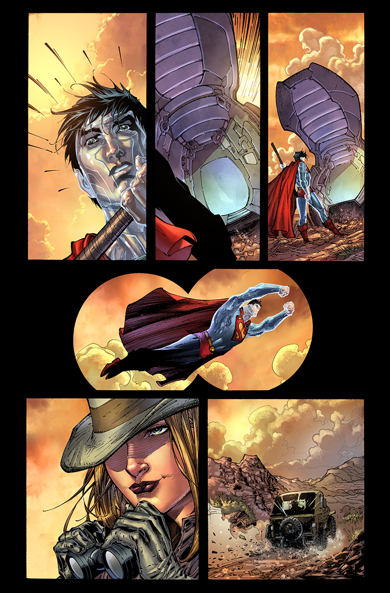 "Page from ""Superman: Earth One"" written by J. Michael Straczynski  Pencils: Ardian Syaf  Inks: Sandra Hope  Colors: Barbara Ciardo  DC COMICS"