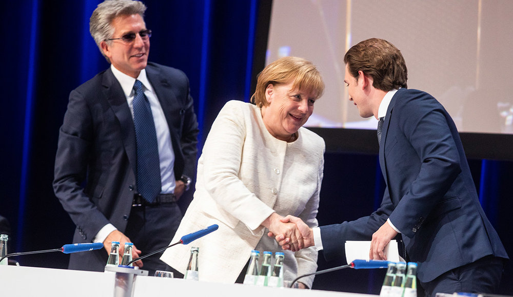 Bill McDermott, Sebastian Kurz, Angela Merkel