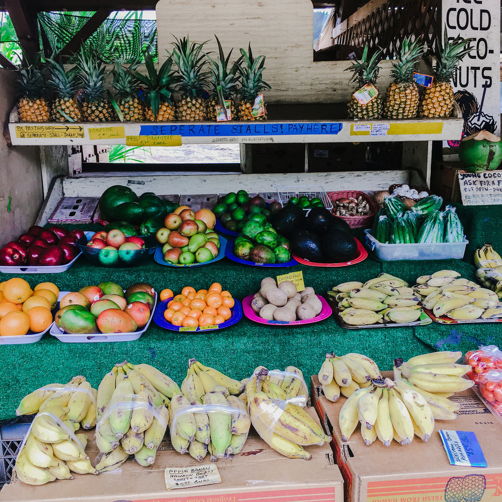 There are so many farmers markets on O'ahu. This one is up on the North Shore near Turtle Bay.