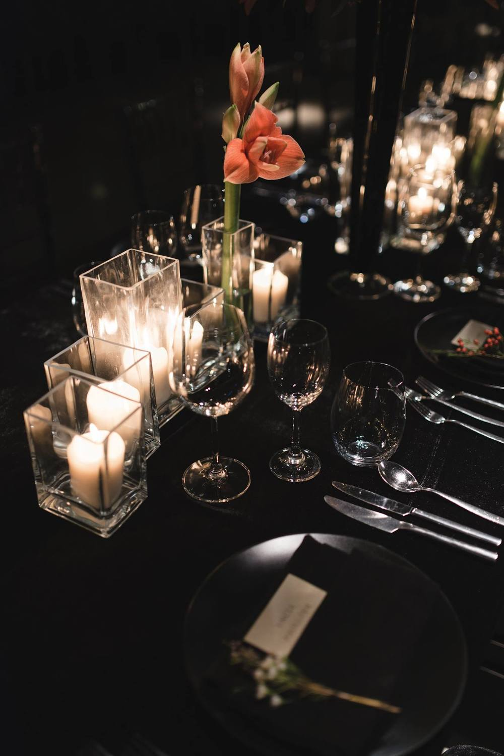 Table setting for 8-course dinner
