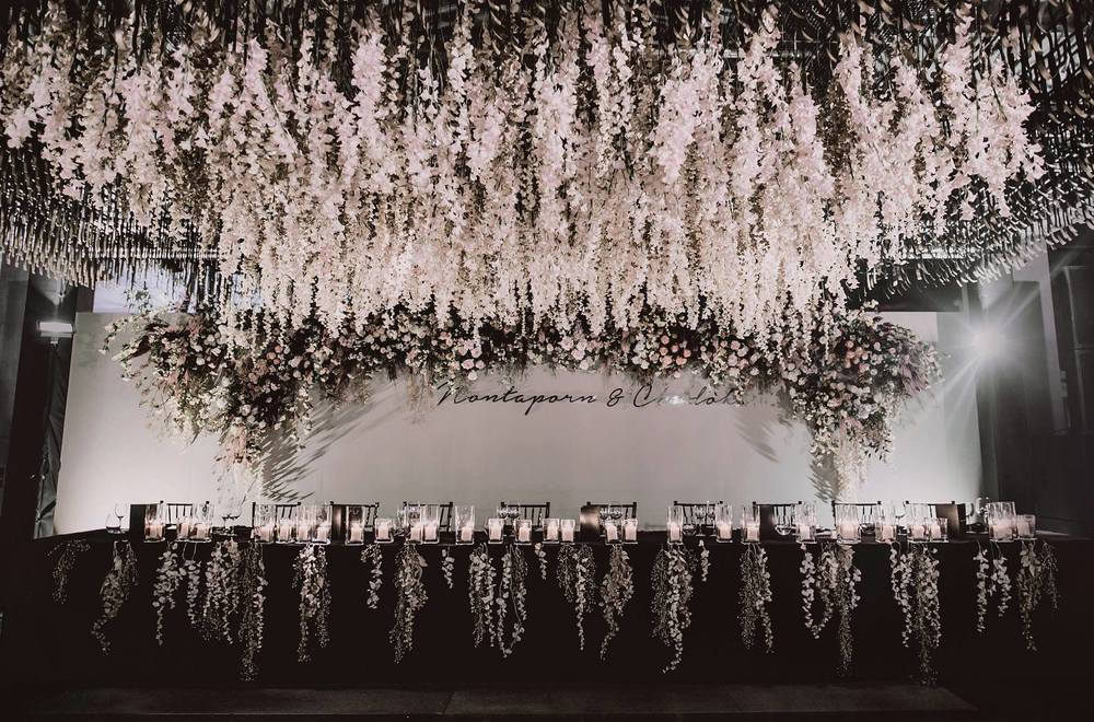 Top table and dance floor with Wisteria ceiling