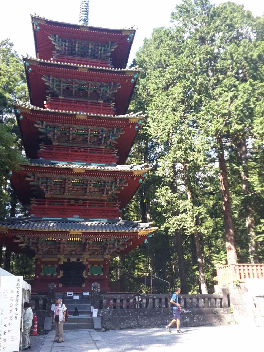 Five story pagoda in Tōshō-gū Shrine with anti-earthquake hanging pillar