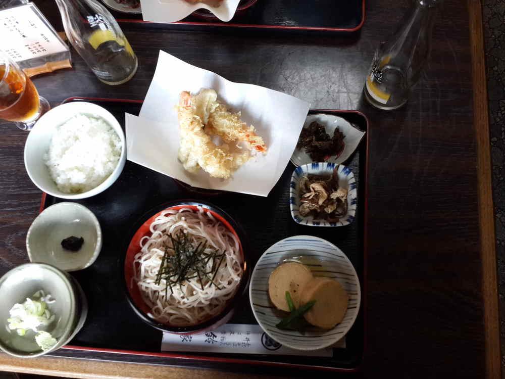 Tofu skin (Yuba) with buckwheat noodles (soba) and tempura