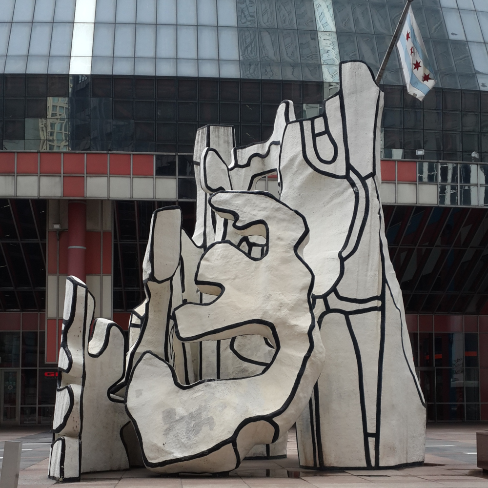 Dubuffet :  Monument with the standing beast alias Snoopy in a blende