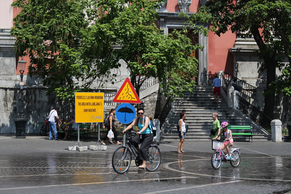 In the summer, Ljubljana's Prešeren Square has its own weather zone