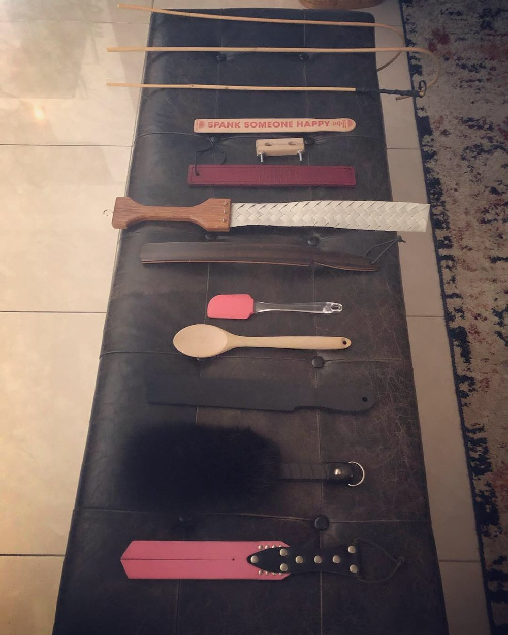 cane, caning, crop, paddle, tawse, ruler, crooked handle cane, restraints