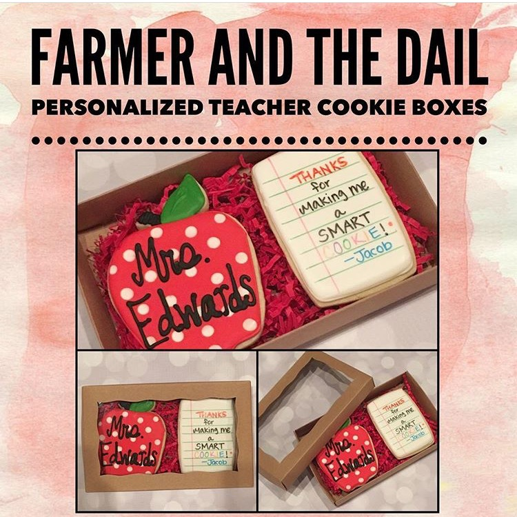 Teacher Appreciation Cookie Boxes - Teacher appreciation boxes come with one personalized apple cookie and one personalized notebook cookie in a kraft paper window box.  Boxes are $10/each.