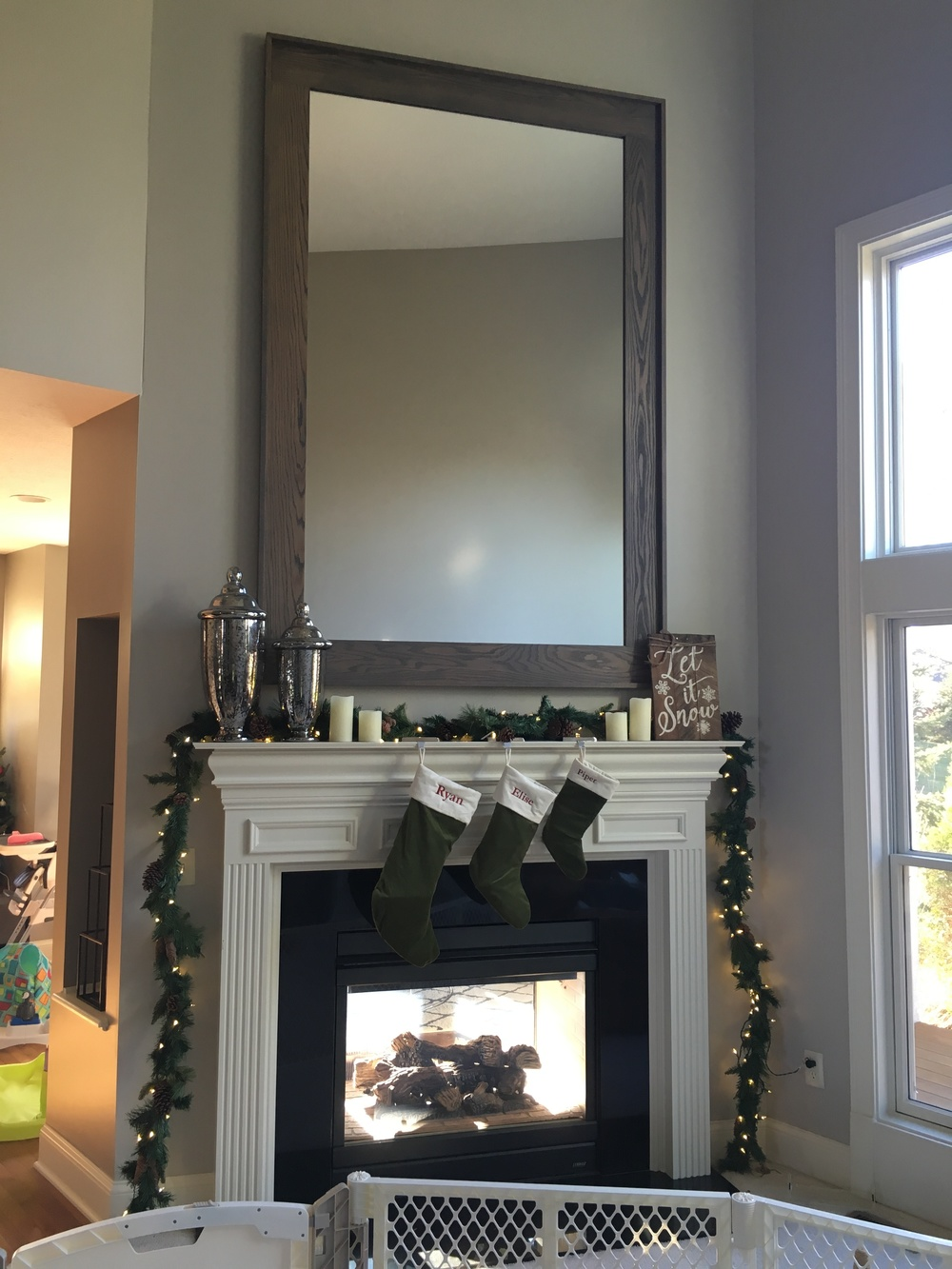 7'x5' Weathered Oak framed mirror