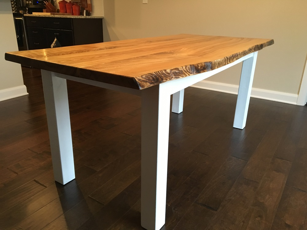 Live edge Ash table with farmhouse base