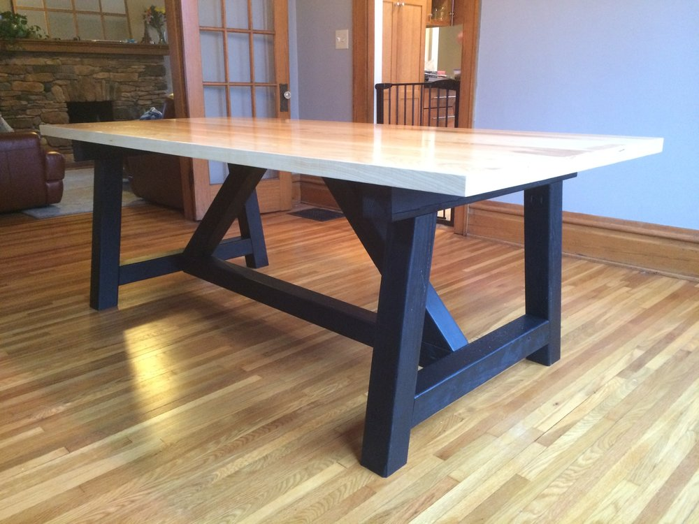 "Beefy ""A"" frame table with white oak top"