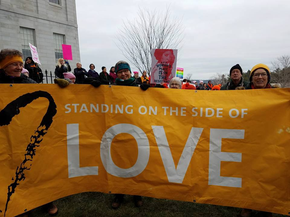 UUR Members and Friends Standing on the Side of Love at the Women's March on Maine