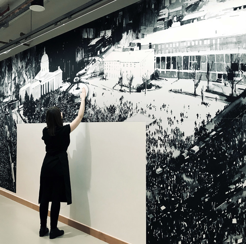 'And the Ground Shook' is installed. This is a three wall print and painting installation at Facebook's new London Offices at Rathbone place. Curated by Josephine Kelliher