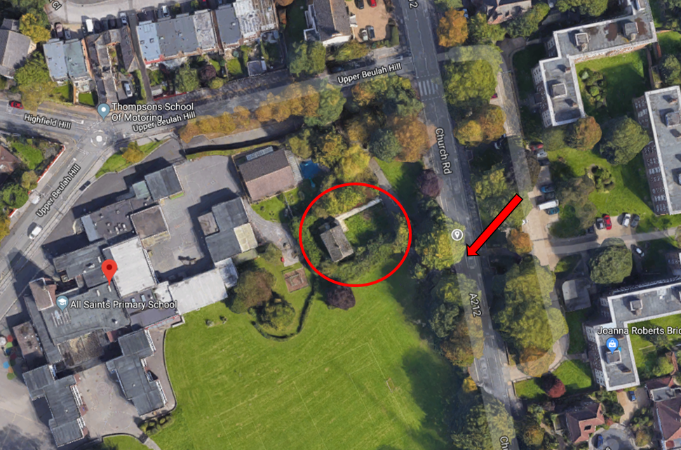 Once you have arrived at All Saints School, turn right onto Church Road. The entrance to the CDI PIP House is on the right, (House is circled)