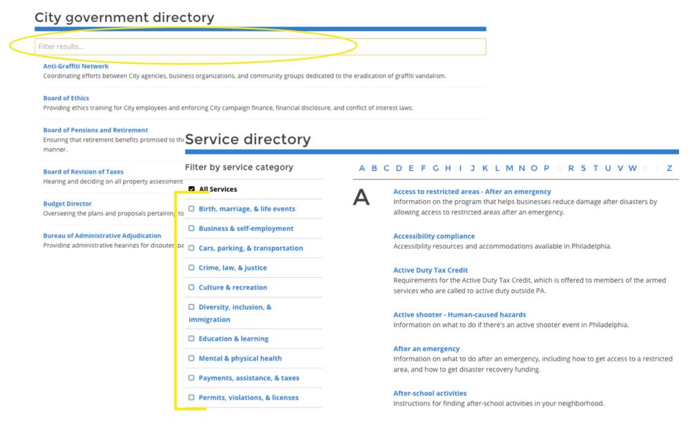 City Government Directory Predictive search vs Service Directory filter