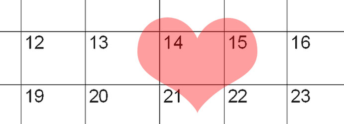 valentines day calendar with heath 14th