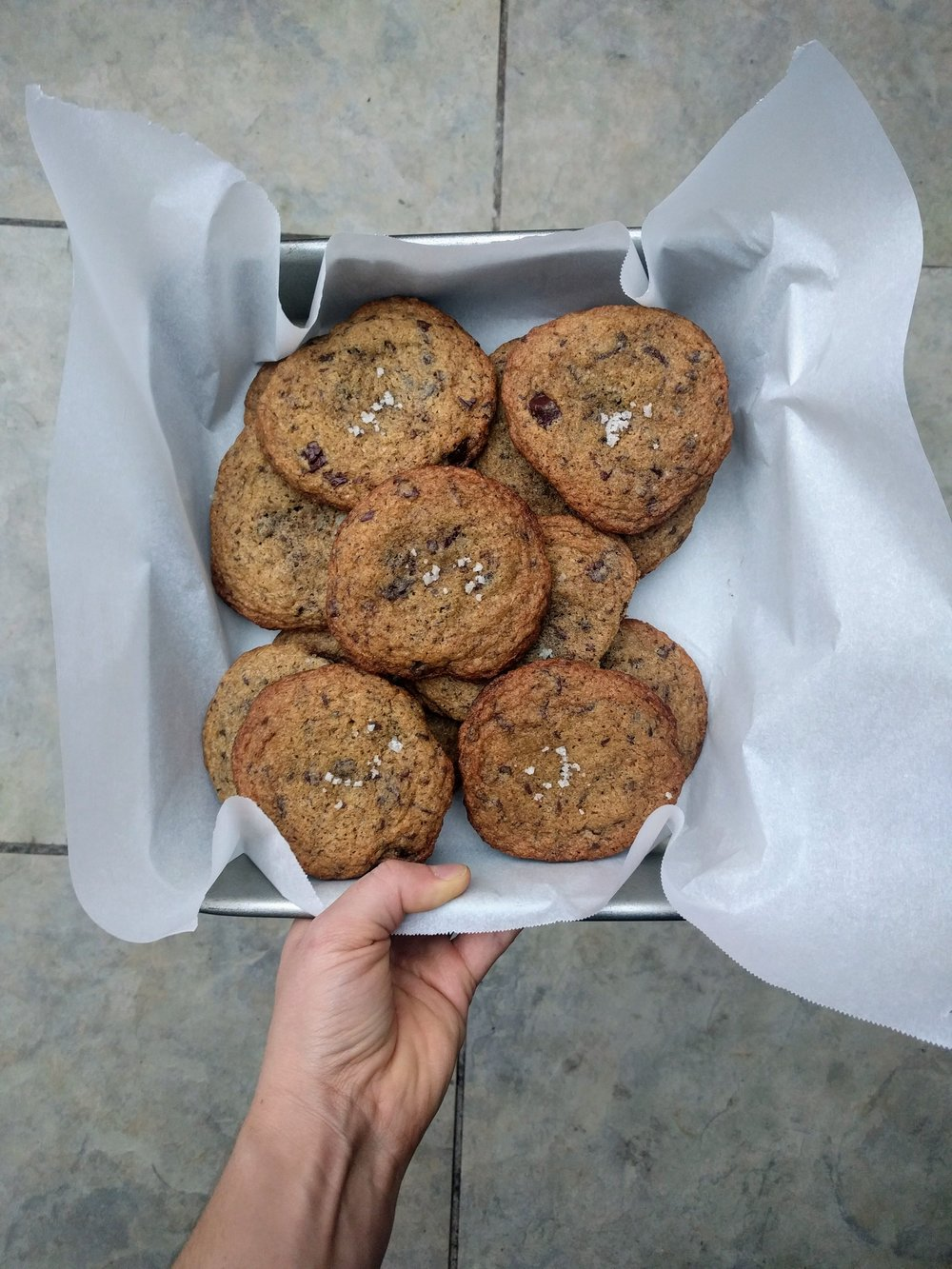 whole grain salted chocolate chunk cookies