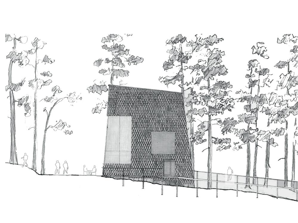 Utmark arkitektur skomakerdiket konkurranse varmaren fasade øst
