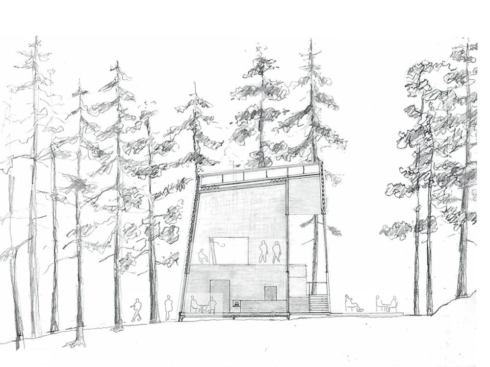 Utmark arkitektur skomakerdiket konkurranse varmaren snitt BB