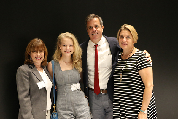 (l to r):  Diane Davis, head of the drama department; Danielle Lauder '12; Paul A. Burke, head of school; Cynthia Coudert, associate director of the drama department.