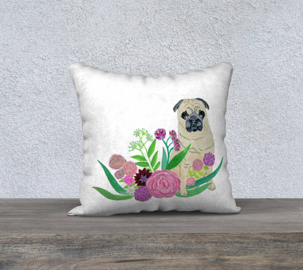 This adorable floral pug was inspired by a pug I know named Tofu. Order it from the shop  here