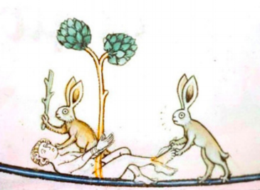 Death by Rabbit - They've beaten the man unconscious, tied him to a tree, and have begun to skin him at the feet. Egad!