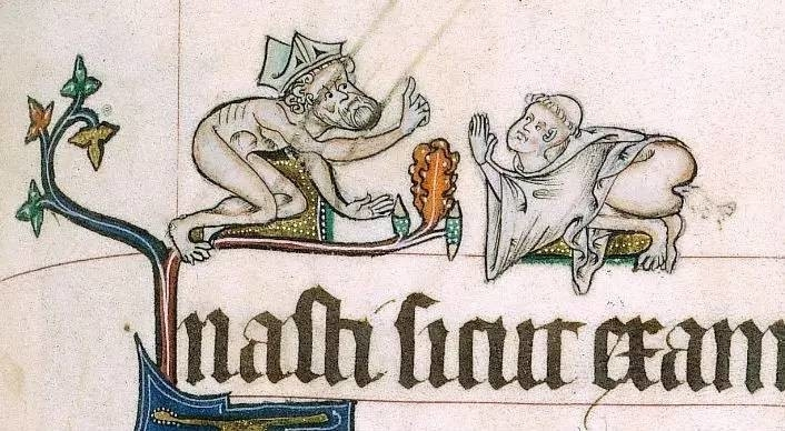 A nude bishop chastises a pooping cleric in the Gorleston Psalter, c. 1310-1324. (British Library Royal MS 49622, f. 82r.)
