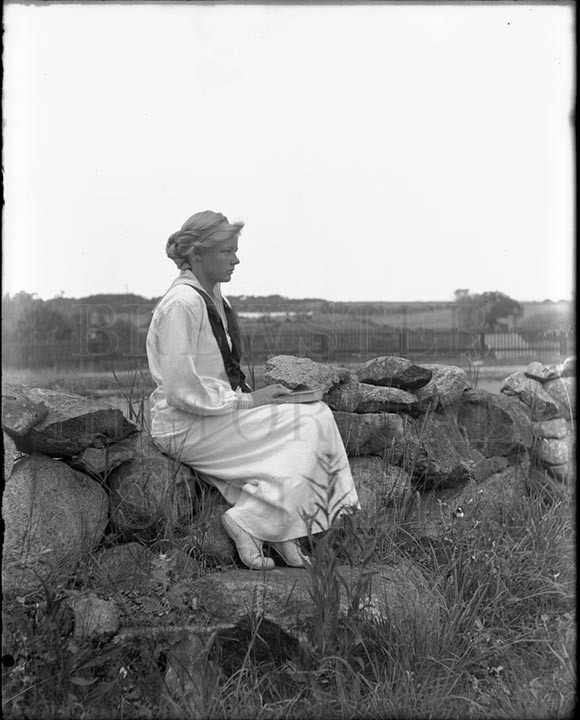 52. 1970.10.T984 Elinor Mason on Stone Wall c.1900 - photographer Caro A. Dugan