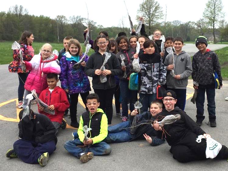Mighty Acorns from Jones Elementary School in Portage are just a few of the 200 students who planted trees on Arbor Day, thanks to Cargill and the Million Trees Project.