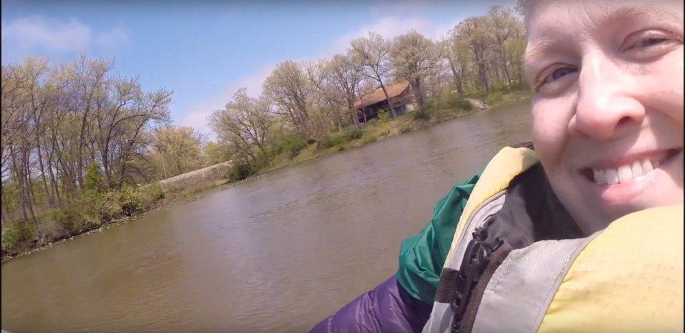 Karin paddling a canoe on Lake George.May 5, 2016