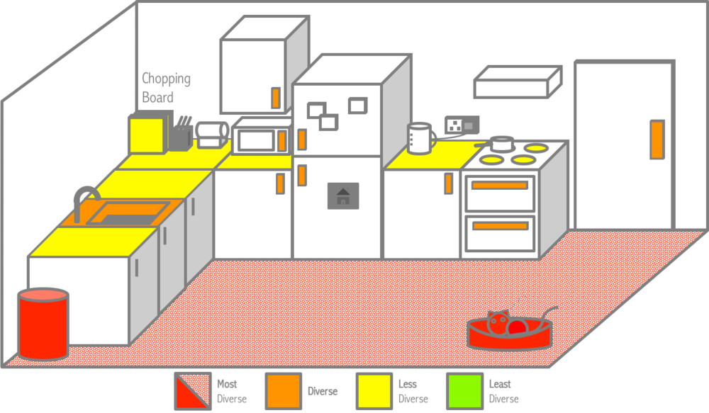 map of expected microbial diversity in kitchens