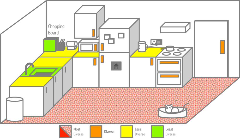 Mapping the diversity of bacterial communities in our participants' kitchens.