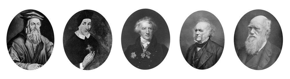 Fossil paleontologists, from left to right: Gesner, Stensen, Cuvier, Lyell, and Darwin.