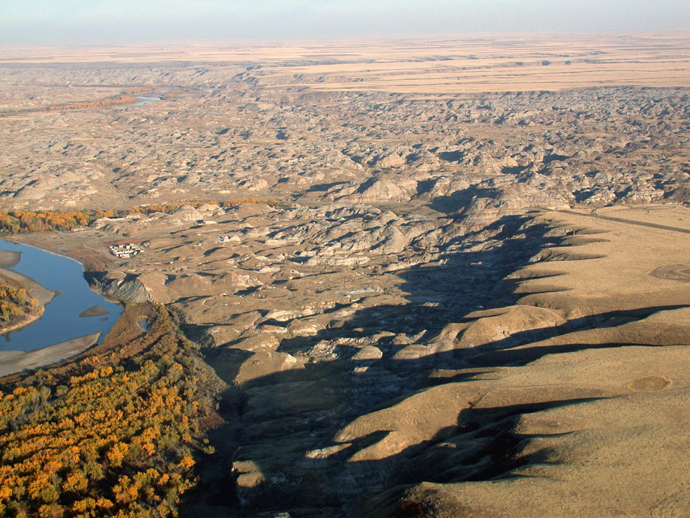 Badlands of Dinosaur Provincial Park, taken from the air.  This area is now a natural preserve, and only accessible by guided tour or permit.