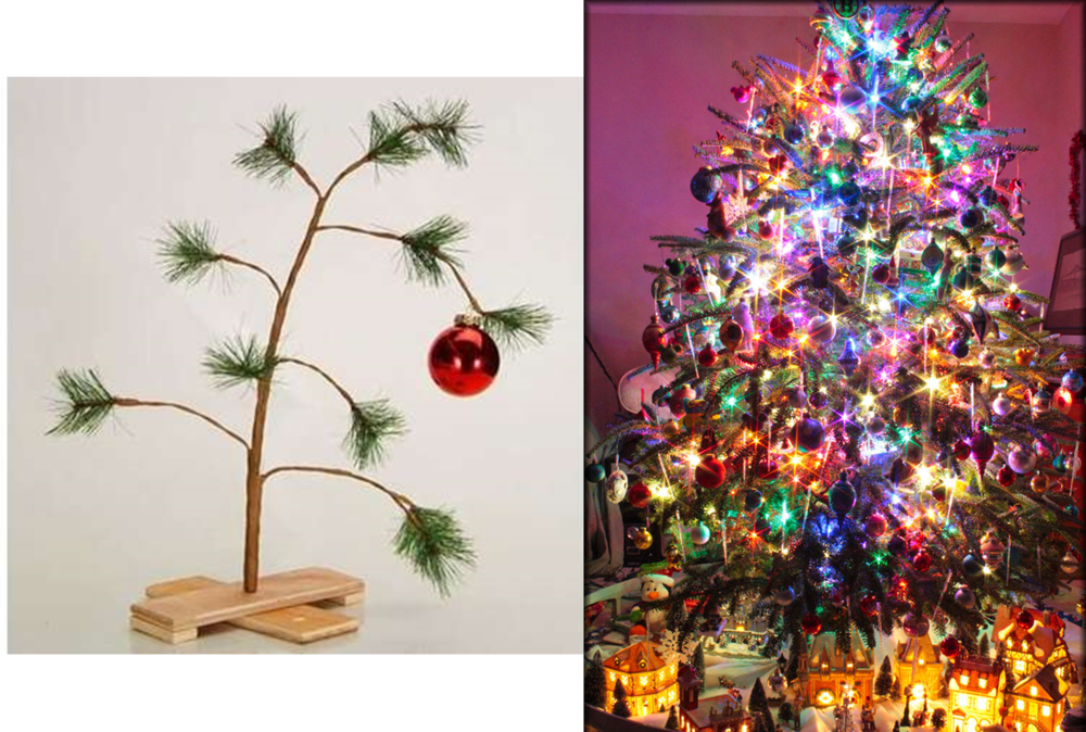 On the left, a lumper's christmas tree. On the right, a splitter's christmas tree.