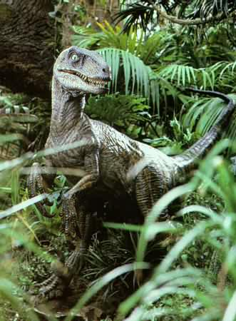 Many dinophiles have complained that the  Deinonychus  in  Jurassic Park  aren't feathered; the author wishes they would stop body shaming. Image from Wikipedia Commons.