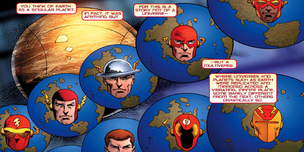 "Multiple earths with their representative Principle Investigators. From DC Comics' ""52"" #4."