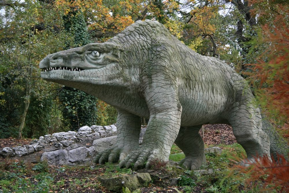 Get it? 'Scale'? The Crystal Palace's 1852 Megalosaurus.