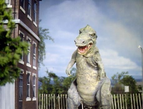 The mighty  T. rex  from the 1974 Doctor Who Serial  Invasion of the Dinosaurs.  Although, given the number of fingers, it could just be an overgown  Allosaurus ...