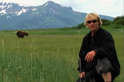 Timothy Treadwell, in Alaska's Katmai National Park. This does not end well.